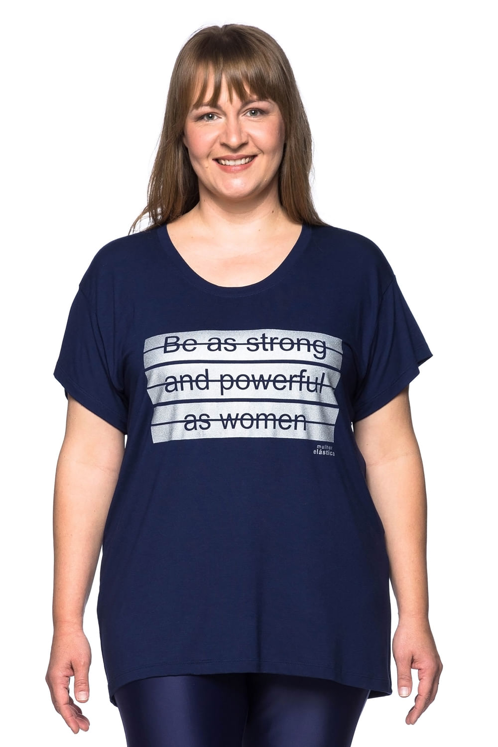 Camiseta Fitness Plus Size Merci - Azul Marinho