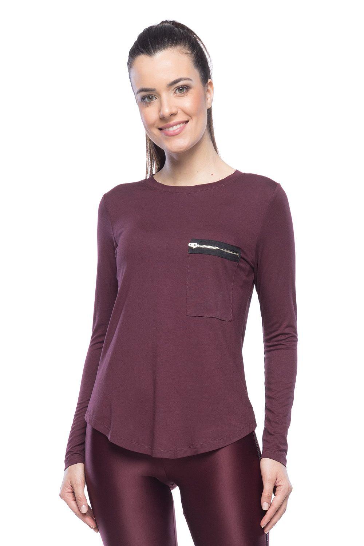 Camiseta manga longa - Bordo